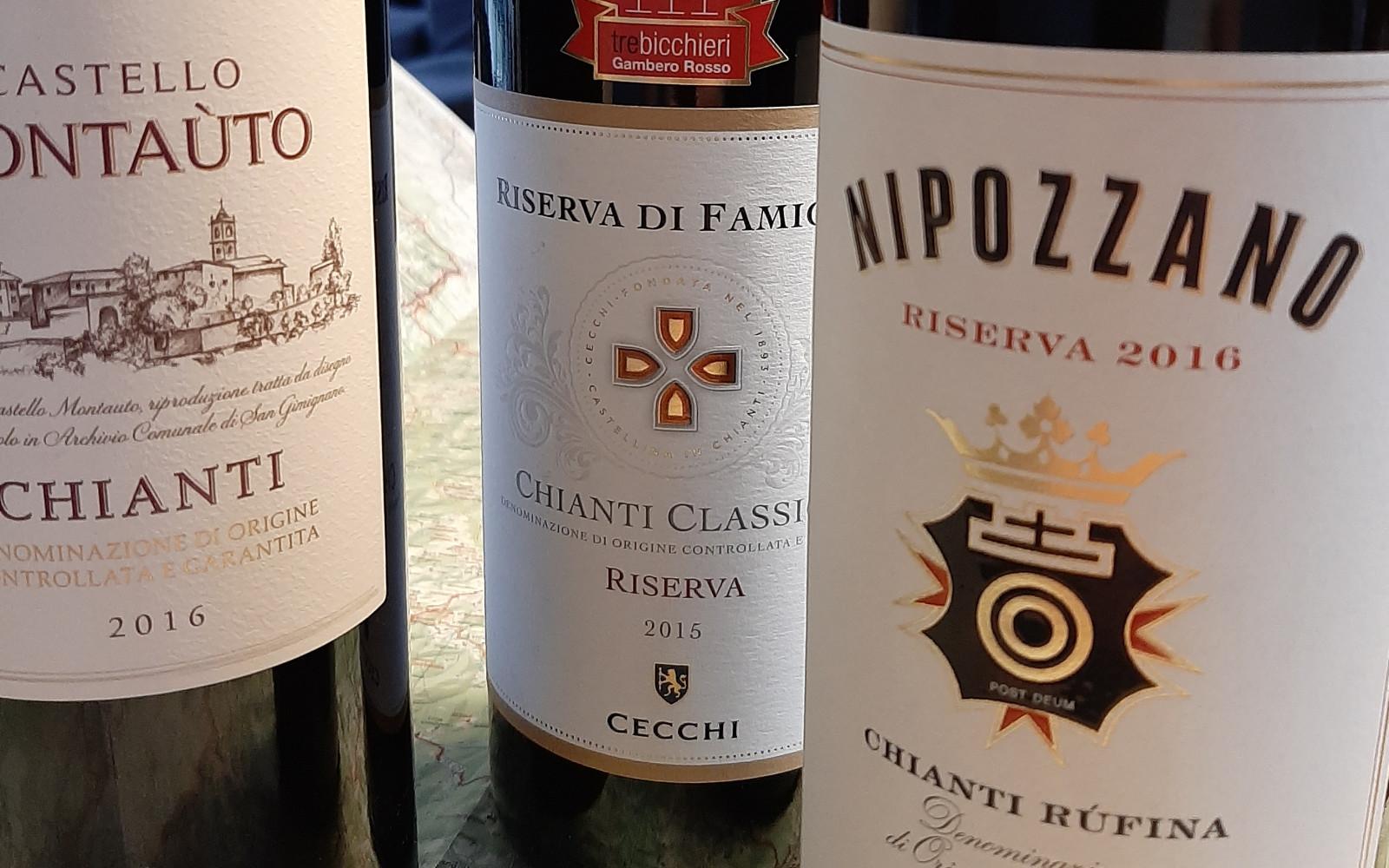 drie verschillende Chianti DOCG wijnen