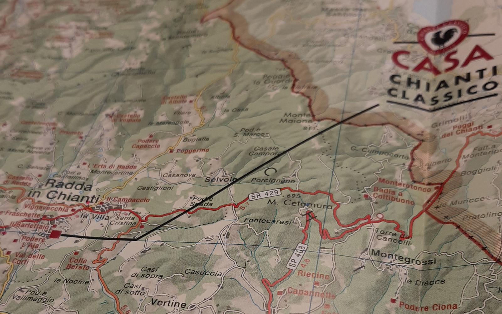 kaart Chianti wijnstreek in Toscane Italie